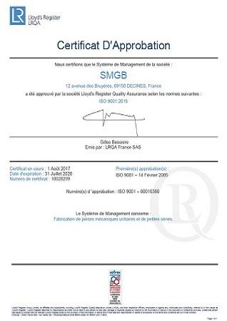 Certificat ISO 9001 version 2015